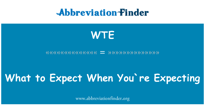 WTE: What to Expect When You`re Expecting