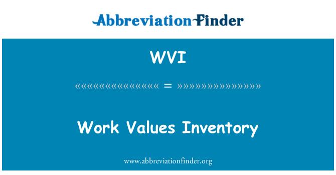 WVI: Work Values Inventory