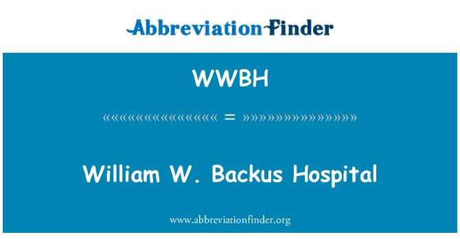 WWBH: William W. Backus Hastanesi