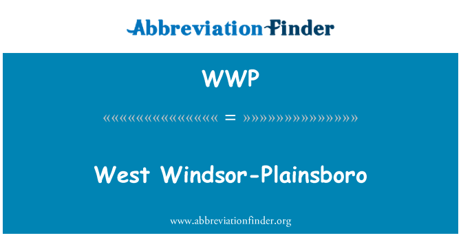 WWP: West Windsor-Plainsboro