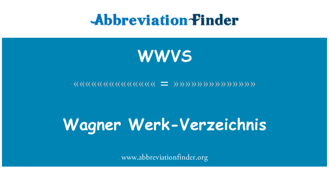 WWVS: Wagner näiteks-Verzeichnis