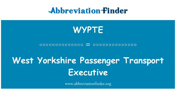 WYPTE: West Yorkshire Passenger Transport Executive
