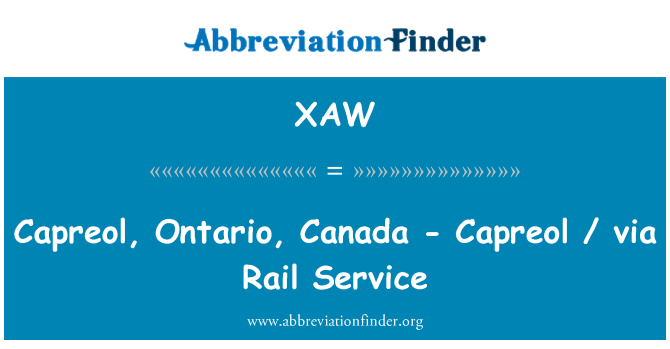 XAW: Capreol, Ontario, Canada - Capreol / via Rail Service