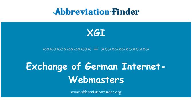 XGI: Exchange of German Internet-Webmasters