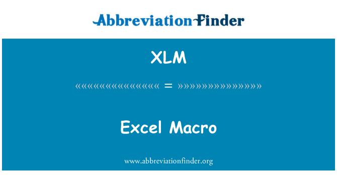 XLM: Excel makro