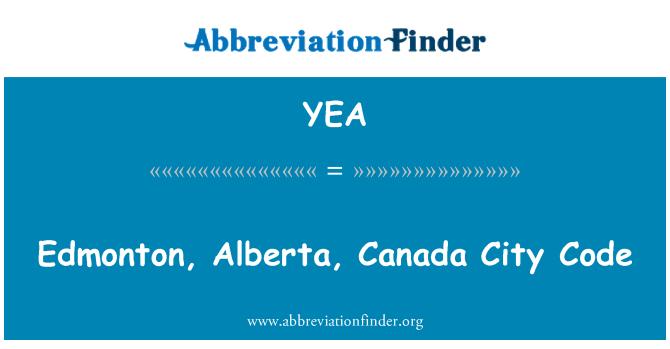 YEA: Edmonton, Alberta, Canada City Code