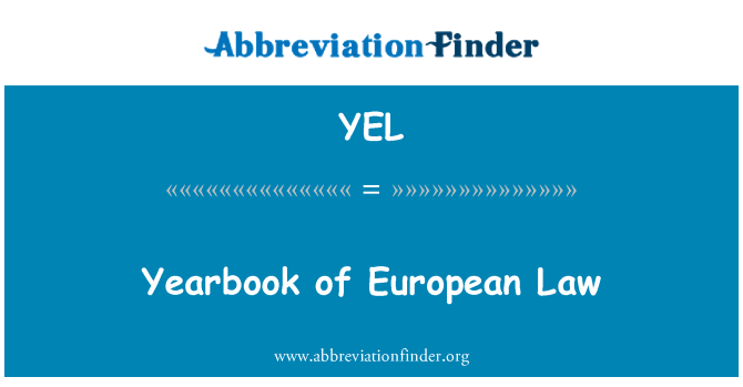 YEL: Yearbook of European Law