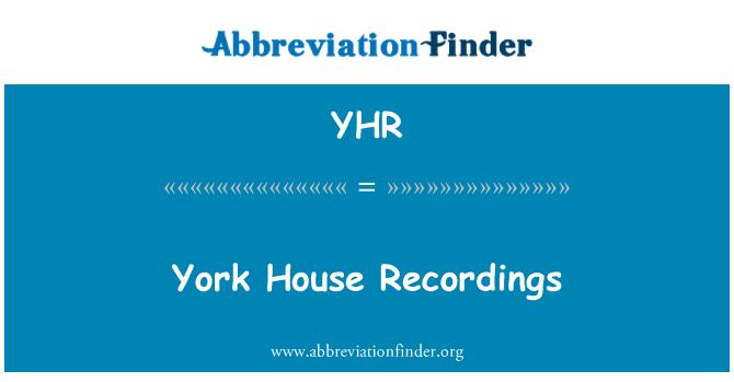 YHR: York House Recordings