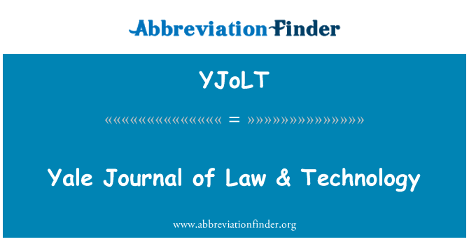 YJoLT: Yale Journal of Law & Technology
