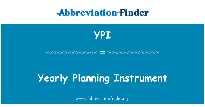 YPI: Yearly Planning Instrument