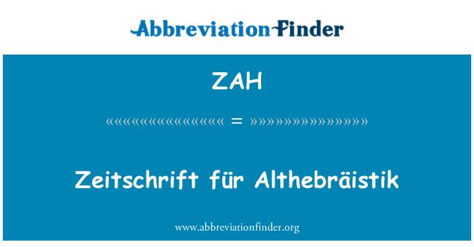 ZAH: Zeitschrift für Althebräistik