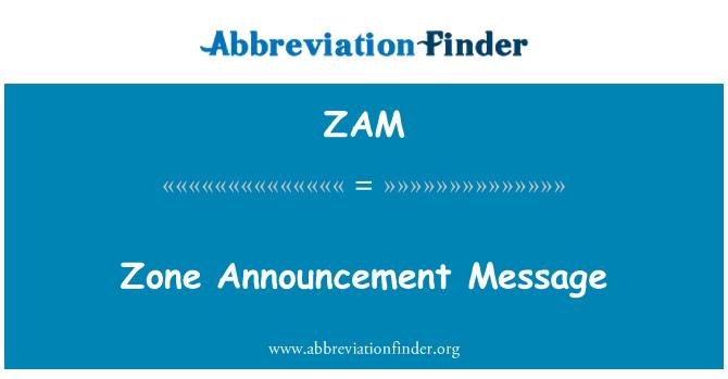 ZAM: Zone Announcement Message
