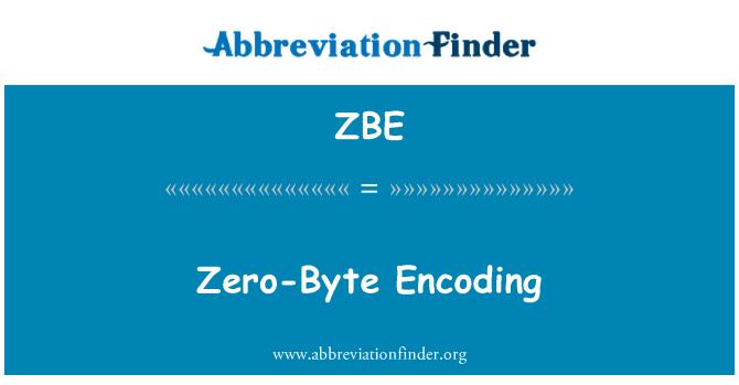 ZBE: Zero-Byte Encoding