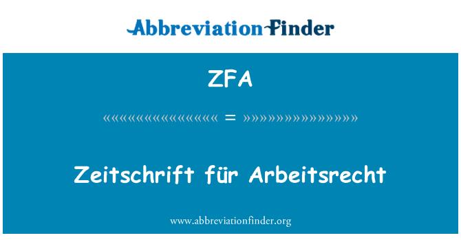 ZFA: Zeitschrift für Arbeitsrecht