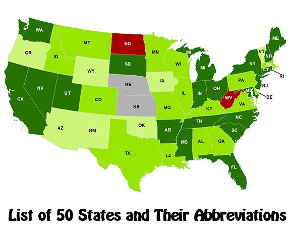 List of 50 States and Their Abbreviations