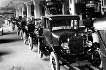 Ford T Production Line in the 1920s in the United States
