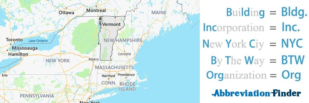 Vermont State Abbreviations